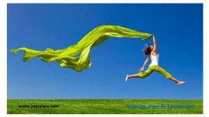 lady jump w scarf